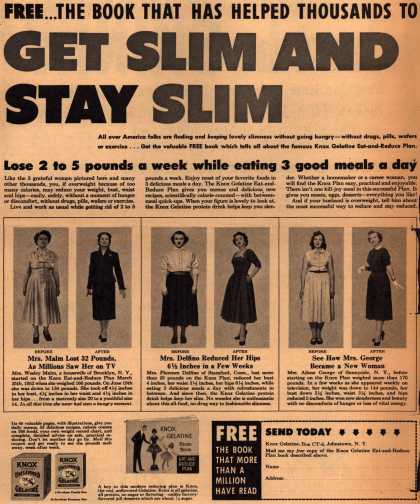 Knox Gelatine – Free...The Book That Has Helped Thousands To Get Slim And Stay Slim (1953)