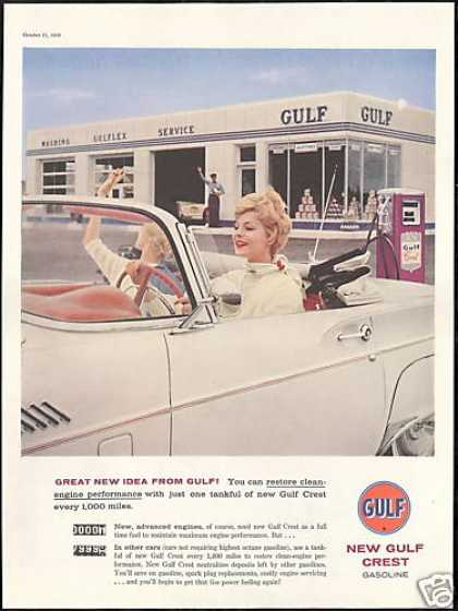 Gulf Gas Station Pretty Woman Photo Vintage (1958)