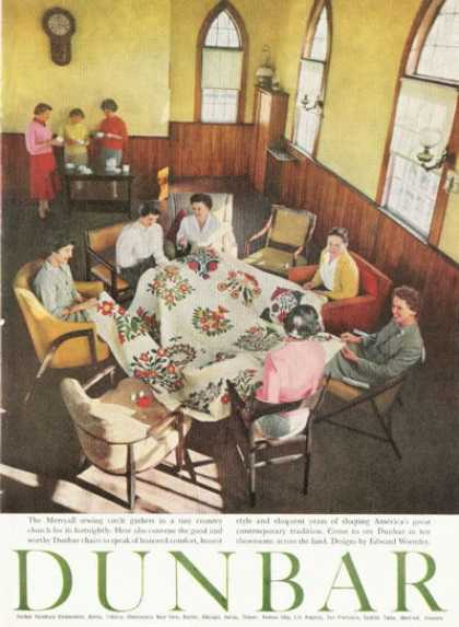 Dunbar Furniture Ad Fashion Chair Sewing Circle (1959)