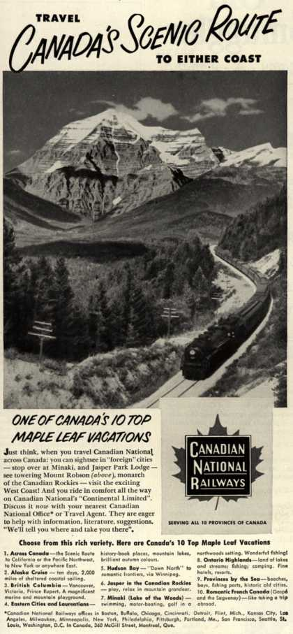 Canadian National Railway's Canada – Travel Canada's Scenic Route To Either Coast (1952)