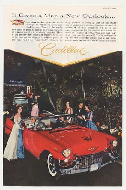 Red Cadillac Convertible at Surf Club Photo (1957)
