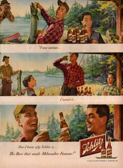 Schlitz Beer Fishing Camera Camping Lake (1949)