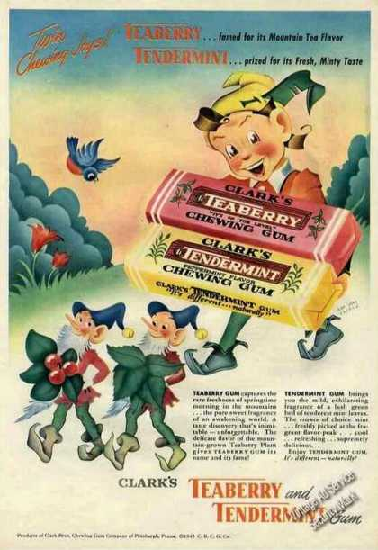 Clark's Teaberry & Tendermint Gum Rare Color (1945)