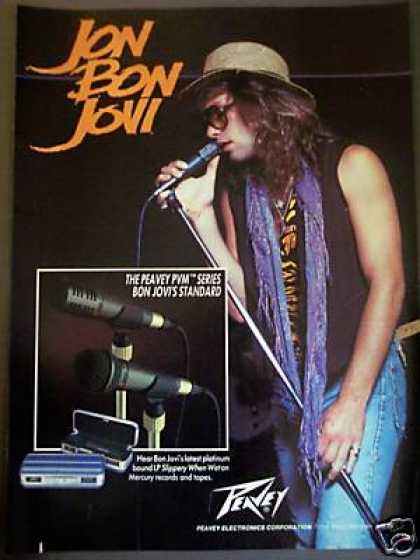 Jon Bon Jovi Photo Peavey Mics (1987)