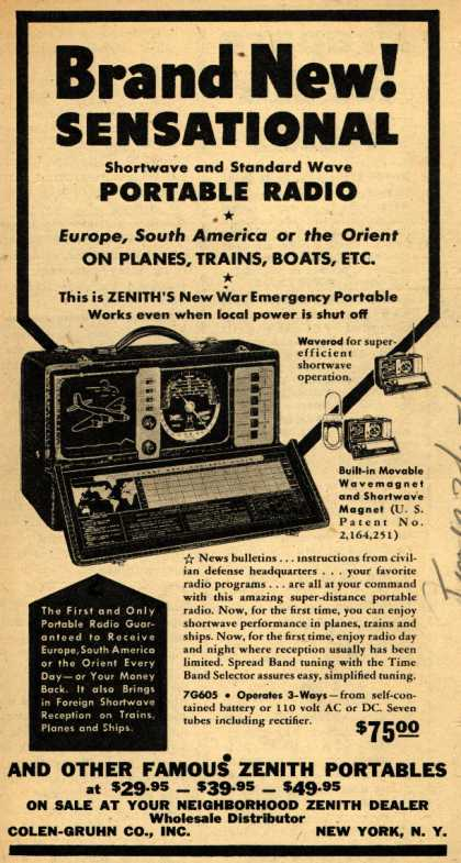 Zenith Corporation's Portable Radios – Brand New! Sensational (1942)