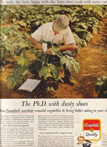 "Campbell's ""The Ph.D with dusty shoes"" (1960)"