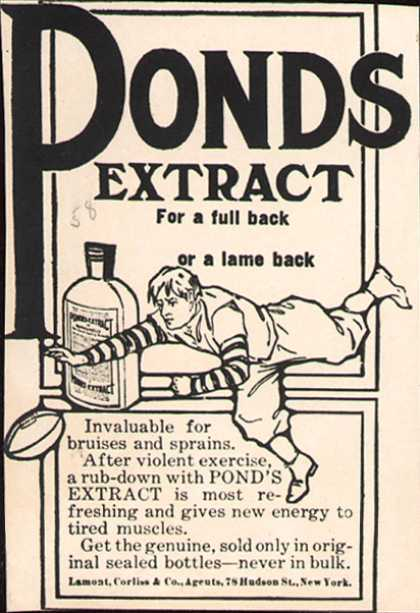 Pond's Extract Co.'s Pond's Extract – Pond's Extract. For a full back or a lame back. (1907)