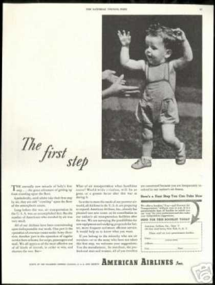 American Airlines Vintage WWII First Step Photo (1943)