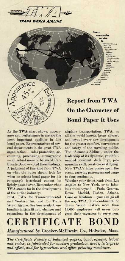 Trans World Airline/ Crocker-McElwain Co.'s Trans World Airline / Certificate Bond Paper – Report from TWA On the Character of Bond Paper It Uses (1947)