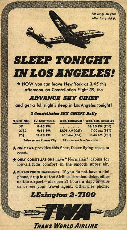 Trans World Airline's Advance Sky Chief – Sleep Tonight In Los Angeles (1947)