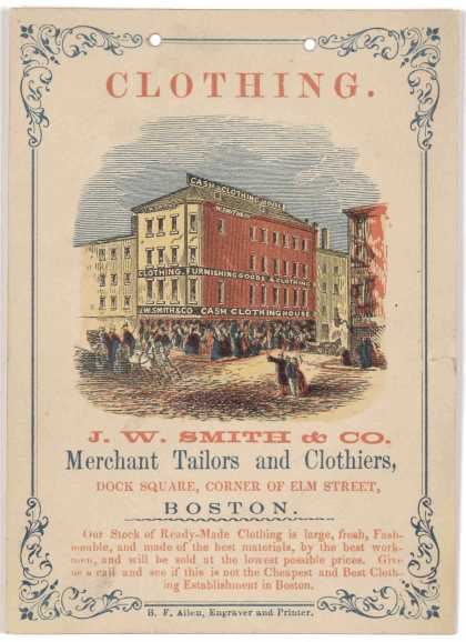 Clothing. J. W. Smith & Co. merchant tailors and clothers, Dock Square, corner of Elm Street Boston. Our stock of ready-made clothing is large, fresh (1858)