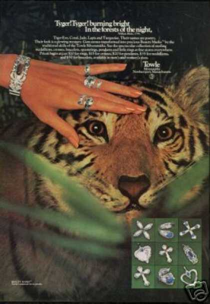 Tiger Photo Towle Silversmith Jewelry (1976)