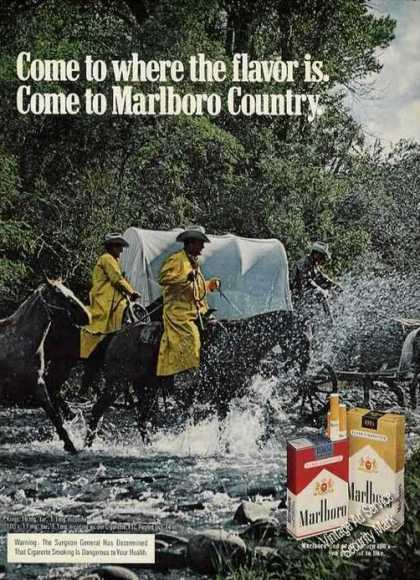 Marlboro Covered Wagon Crossing Stream (1975)