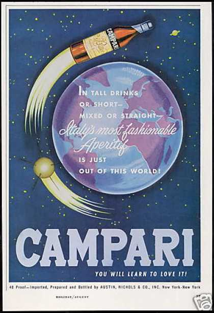 Campari Aperitif Wine Space Bottle Rocket Art (1963)