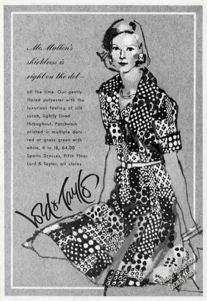 Mcmullen&#8217;s Shirtdress Art Lord &amp; Taylor Fashion (1973)