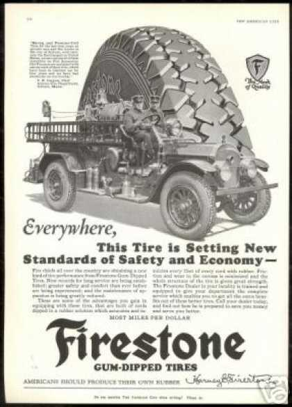Maine Fire Engine Truck Photo Firestone Tire (1928)