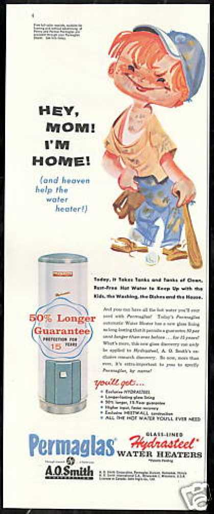 Boy Baseball Art A O Smith Water Heater (1958)