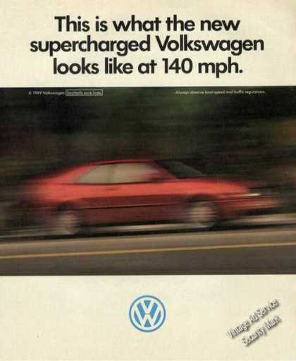 Supercharged Volkswagen Vw at 140 Mph (1989)