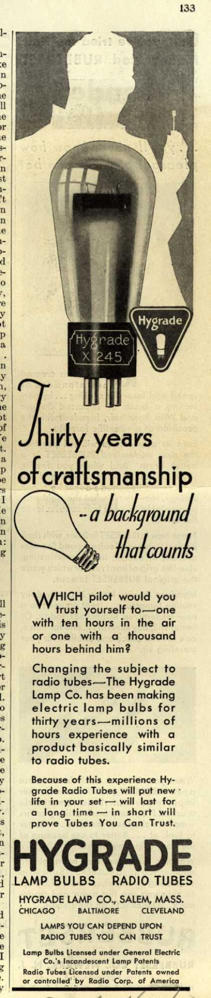 Hygrade Lamp Co.'s Radio Tubes – Thirty years of craftsmanship – a background that counts (1930)