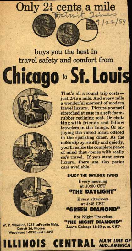 Illinois Central Railroad's St. Louis – Only 2 1/4 cents a mile (1954)