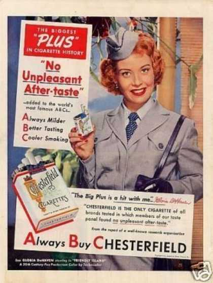 Chesterfield Cigarettes Ad Gloria Dehaven (1951)