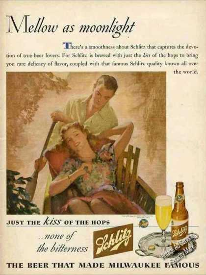 "Schlitz Beer ""Mellow As Moonlight"" Unique (1944)"