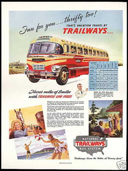 Trailways Bus Travel Miles of Smiles (1948)