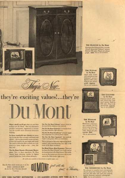 Allen B. DuMont Laboratorie&#8217;s various &#8211; They&#8217;re New... they&#8217;re exciting values!... they&#8217;re Du Mont (1950)