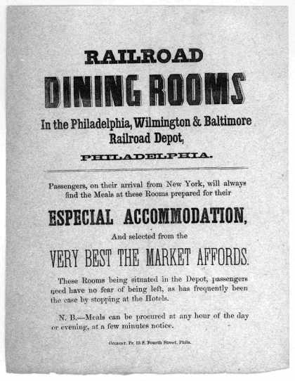 Railroad dining rooms in the Philadelphia, Wilmington & Baltimore railroad depot, Philadelphia ... Philadelphia. Colbert, Pr. 55 S. Fourth Street [186 (1861)