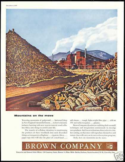 Pulpwood Mill Logs Paul Rabut Art Brown Company (1956)