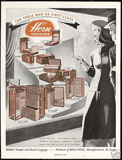 Horn Trunks Hand Luggage Vintage (1948)
