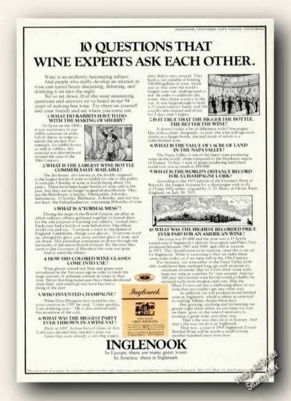 Inglenook 10 Questions That Wine Experts Ask (1974)