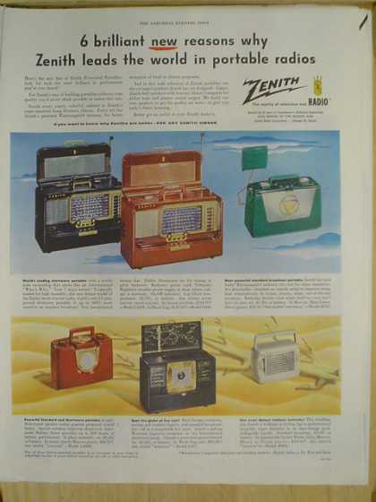 Zenith Portable Radios. 6 Brilliant new reasons (1952)