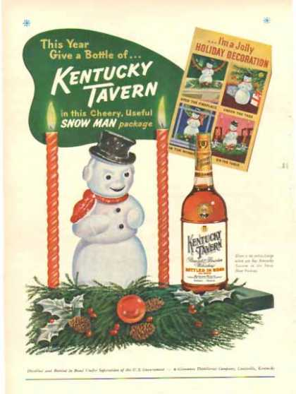 Kentucky Tavern Whiskey – Holiday Snowman (1951)