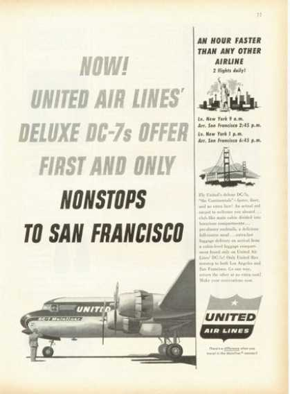 United Airlines Dc-7 Mainliner Plane (1955)