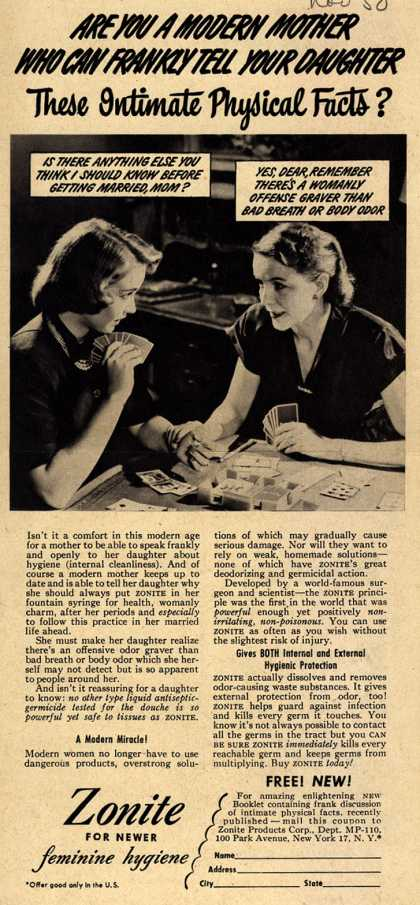 Zonite Products Corp.'s Douche – Are You A Modern Mother Who Can Frankly Tell Your Daughter These Intimate Physical Facts? (1950)