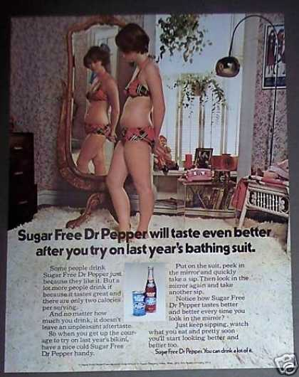 Girl Trys On Bathing Suit Sugar Free Dr Pepper (1973)