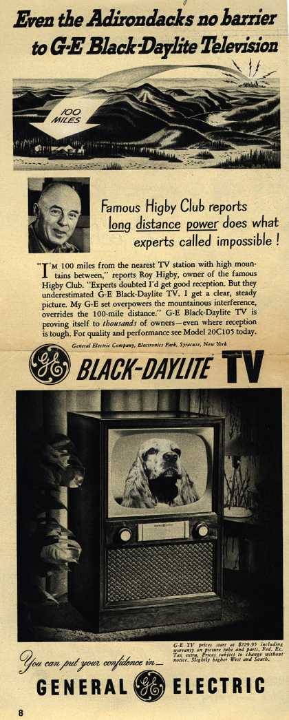 General Electric Company's Black-Daylight Television – Even the Adirondacks no barrier to G-E Black-Daylite Television (1952)