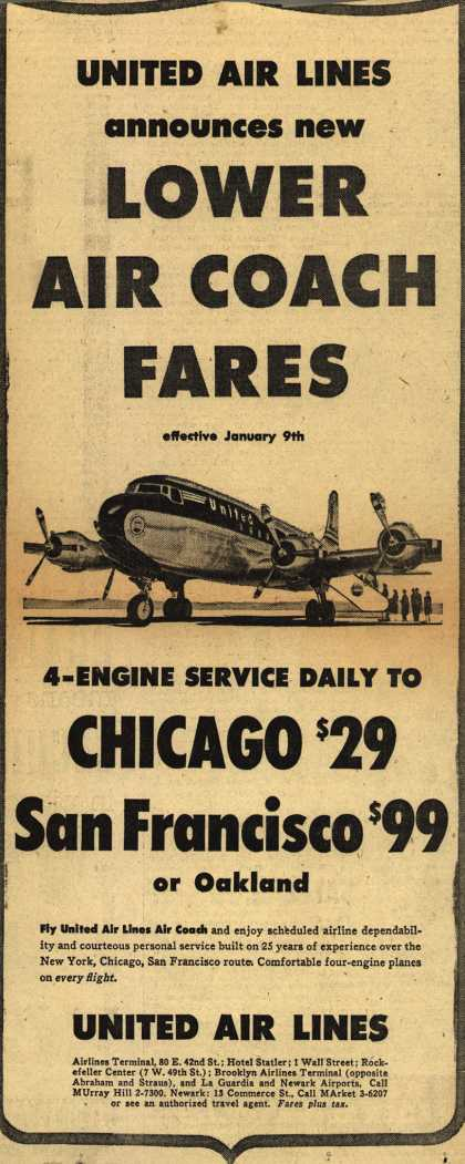 United Air Line's Air Coach Fares – Lower Air Coach Fares (1952)