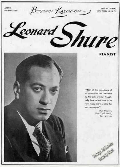Leonard Shure Photo Pianist Booking (1946)