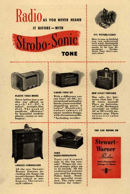 Stewart-Warner Radio's Various – Radio as You Never Heard it Before-with Strobo-Sonic Tone (1946)