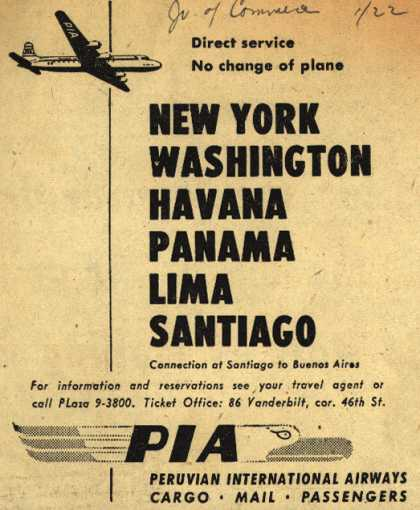 Peruvian International Airway's Direct service to various destinations – New York Washington Havana Panama Lima Santiago (1948)
