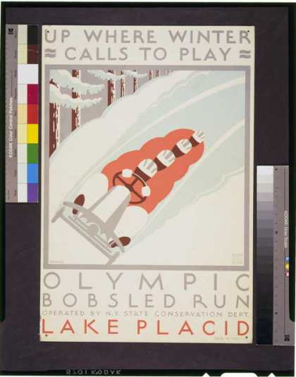 Up where winter calls to play – Olympic bobsled run Lake Placid / J. Rivolta. (1936)
