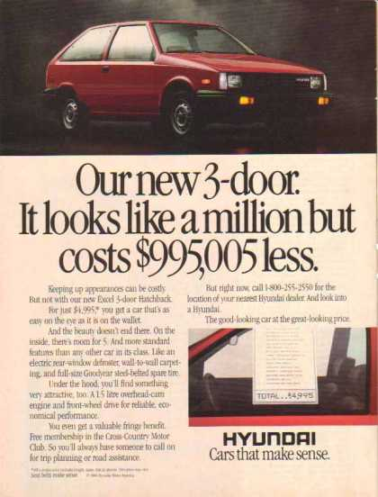 Hyundai Car – Red- New Excel 3 door Hatchback (1986)
