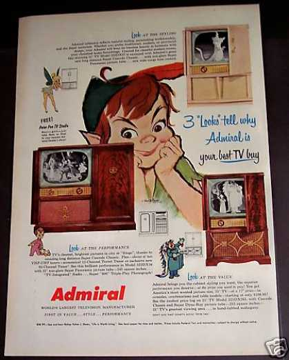 Admiral Tv Set Television Peter Pan (1953)