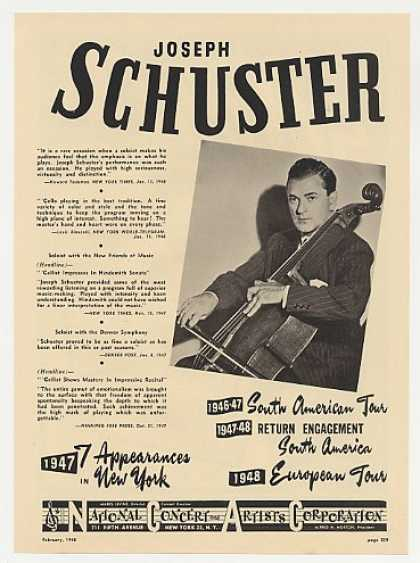 Cellist Joseph Schuster Photo Booking (1948)