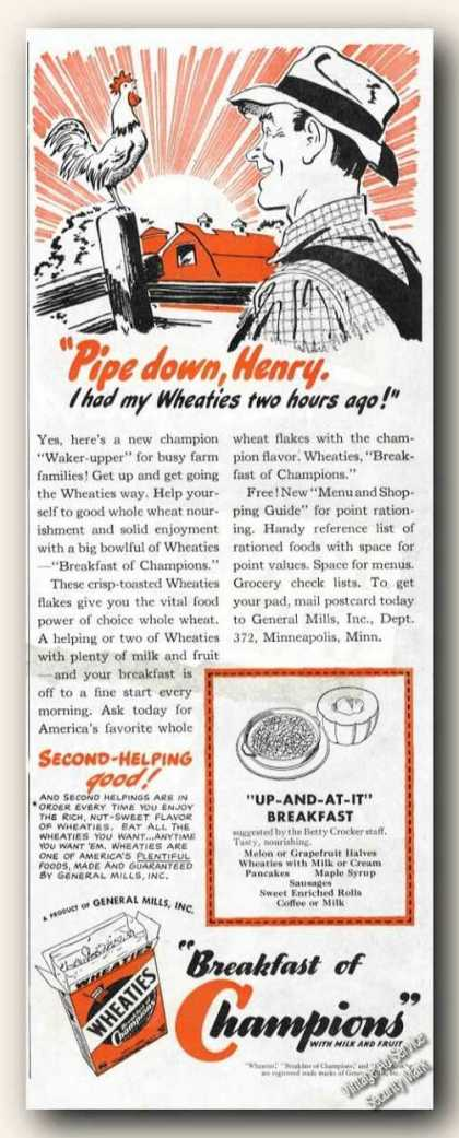 Wheaties Pipe Down Henry Rooster Cereal (1943)