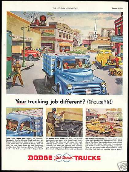 Country Town Art Dodge Truck Pickup Vintage (1952)