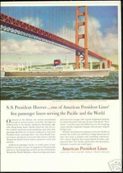 Golden Gate Bridge American President Lines (1957)