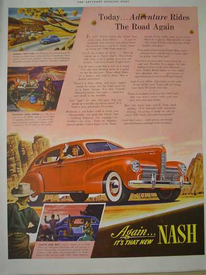 Nash Automobiles Adventure rides road again (1939)